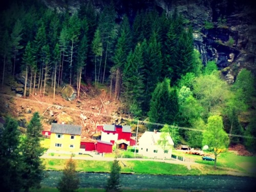 Another small colorful village seen along the Fjords
