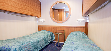 The standard room in the Cruise Line