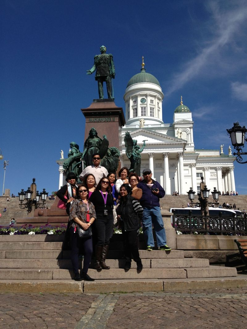 Some of the people in our group with the Helsinki Cathedral as backdrop