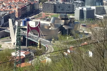 The Guggenheim museum at the centre