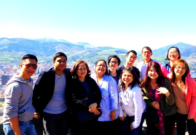 The first group photo at Artxanda mountain top