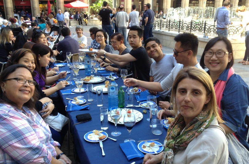 The group all so Full with the large selection of Pintxos we gobbled up :) including the Txacoli (local white wine)