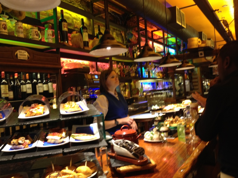 Colorful display of a variety of Pintxos and drinks