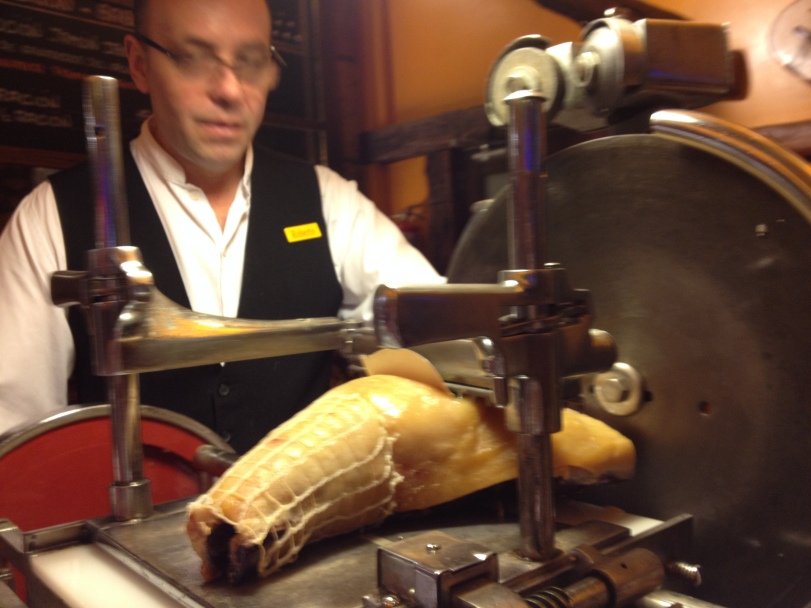 The Señor ready to cut think slices of mouth watering Iberico ham