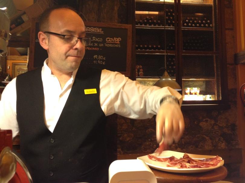 Thinly sliced Iberico ham