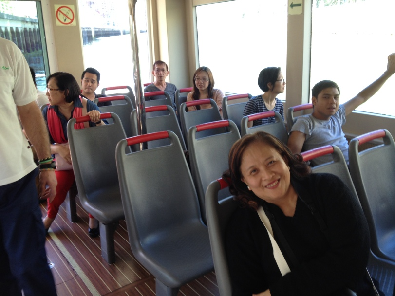Vien Cortes and other members of the group inside the boat